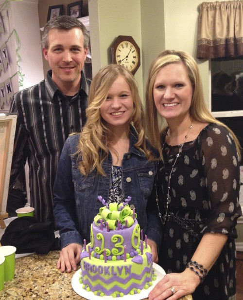 Celebrating our daughter's #13 in March 2014. May she bring God glory.